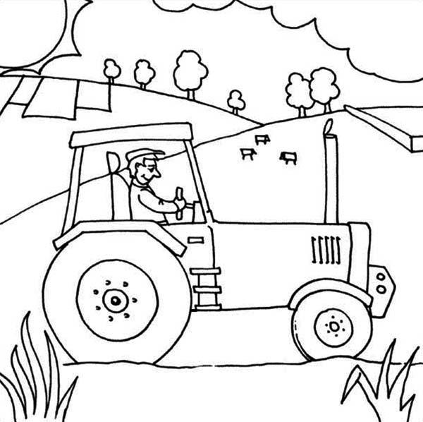Tractor Coloring Pages In Farm
