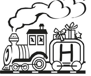Train and letter h coloring page