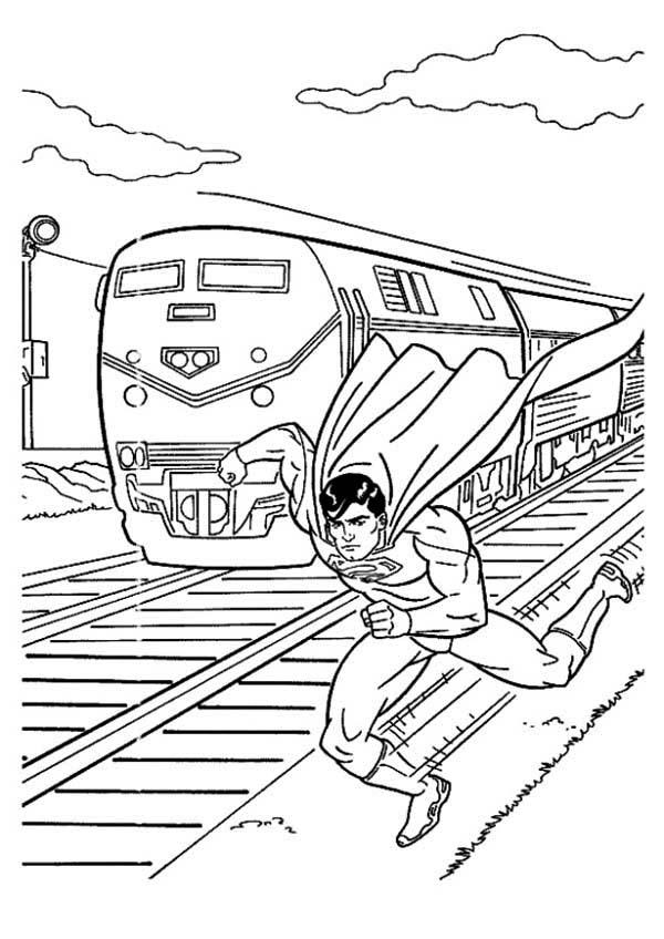 Train Coloring Pages Saved By Superman