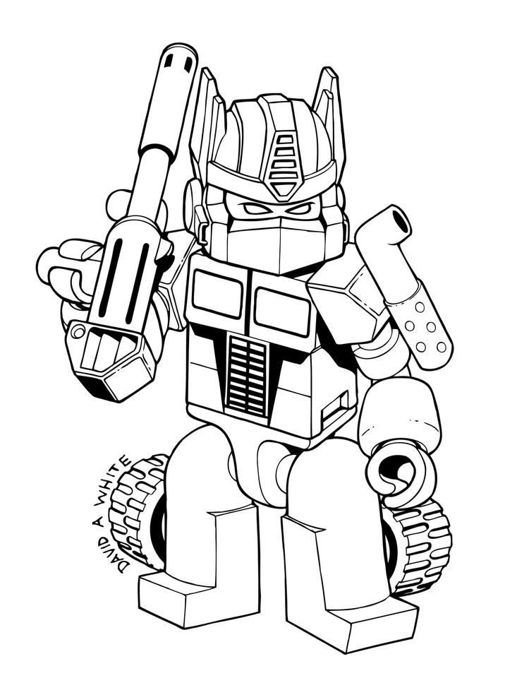 Transformer Coloring Pages Lego Optimus Prime