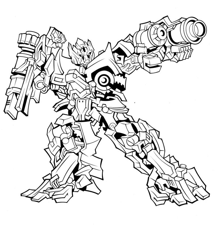 Transformer Coloring Pages Megatron Shooting