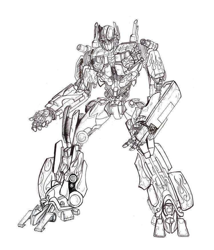 Transformer Coloring Pages Optimus Prime By Tophoid