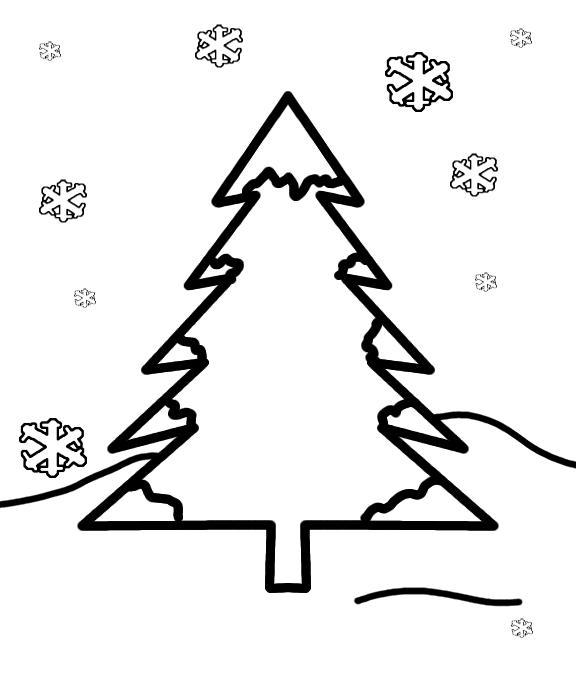 Trees Preschool Winter Coloring Pages
