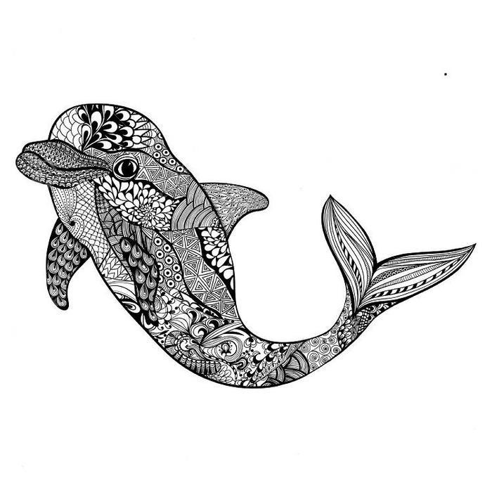 Tribal Dolphin Coloring Pages