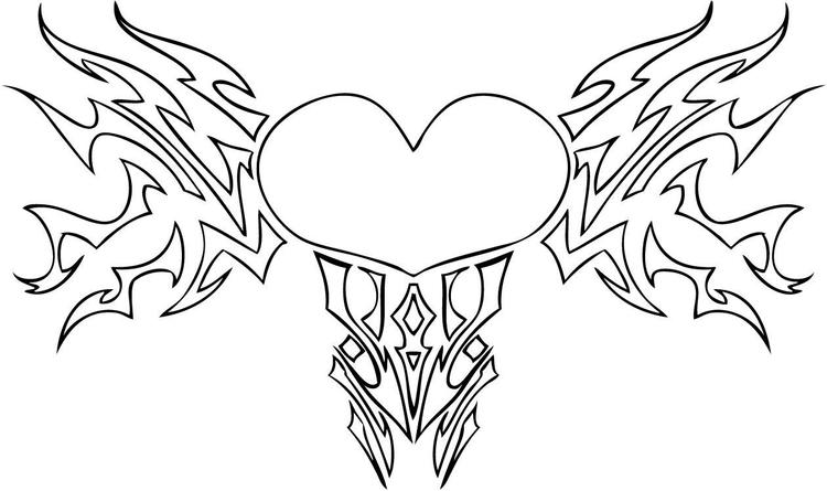 Tribal Heart With Wings Coloring Pages