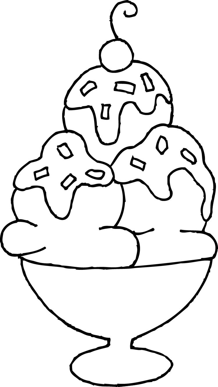 Triple Ice Cream Sundae Coloring Pages