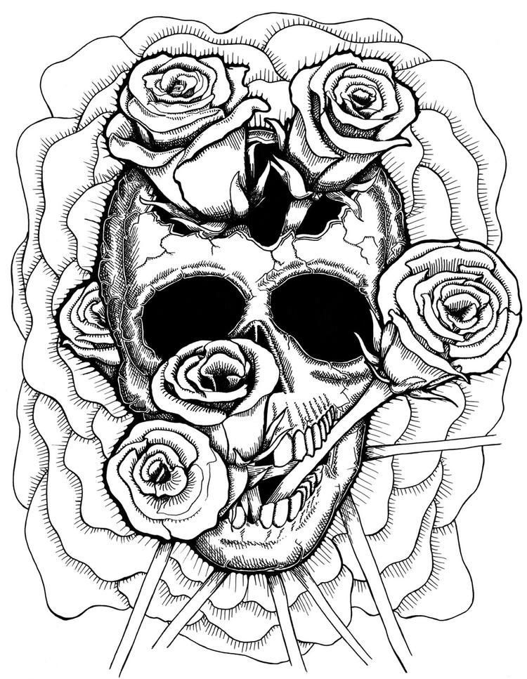 Trippy Coloring Pages Skull And Roses