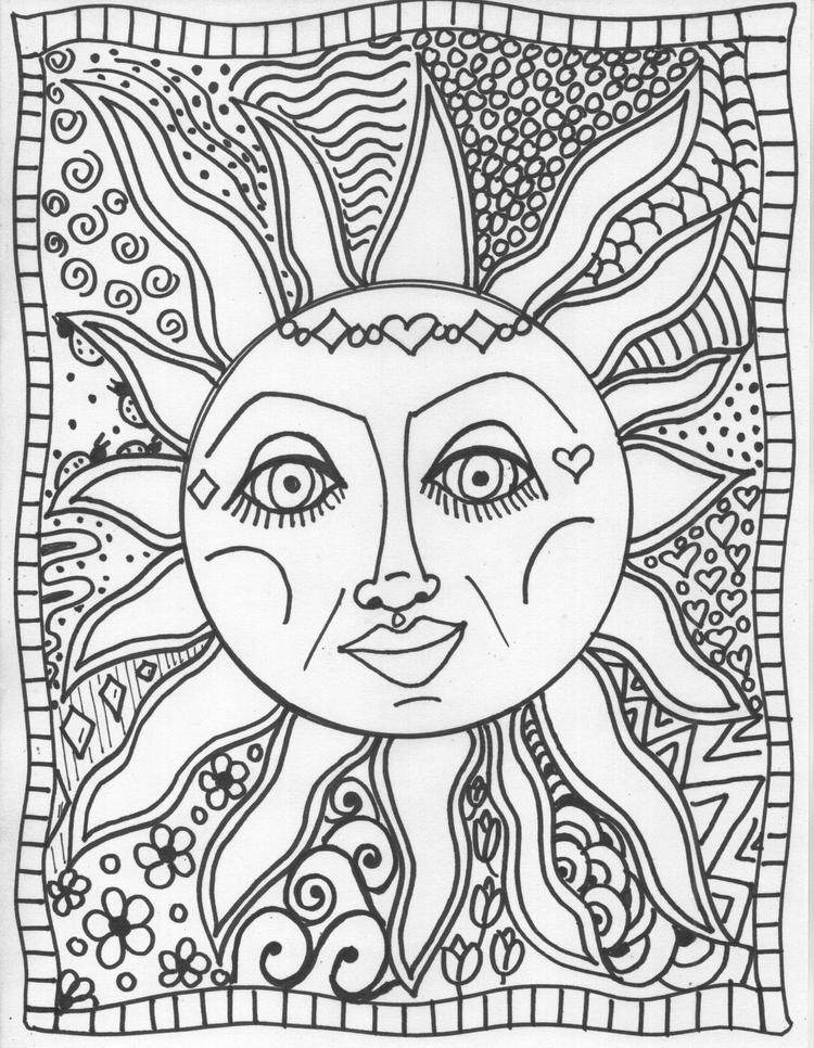 Trippy Coloring Pages Sun