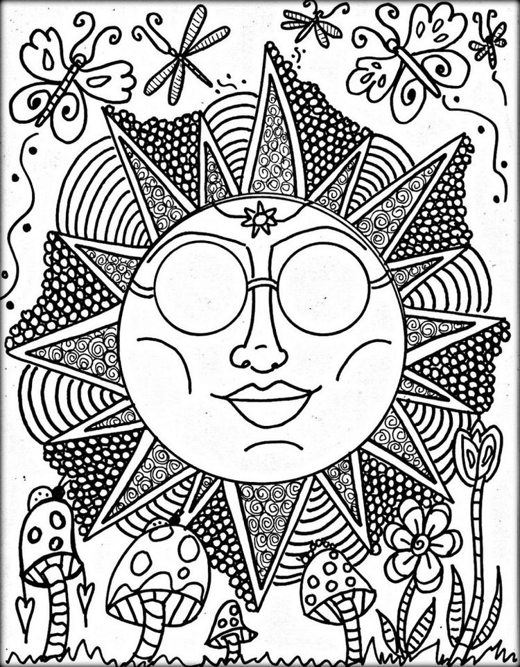 Trippy Sun Theme Coloring Page