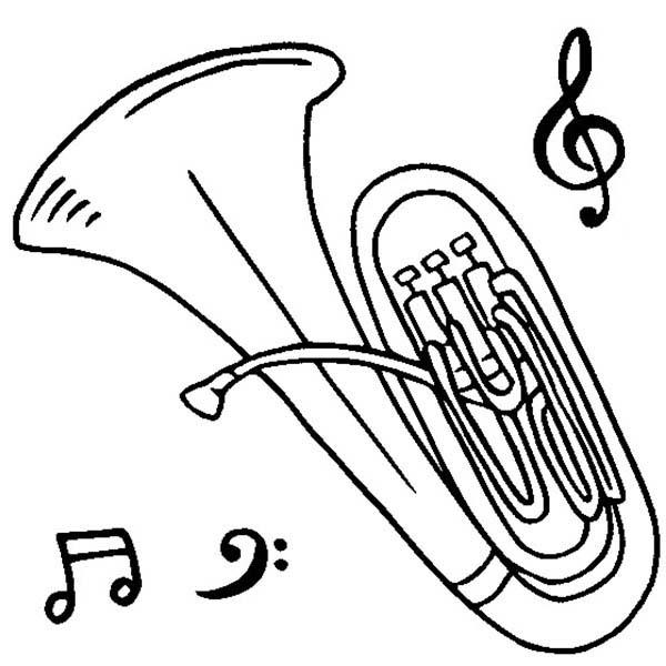 Tuba Is A Musical Instruments Coloring Pages