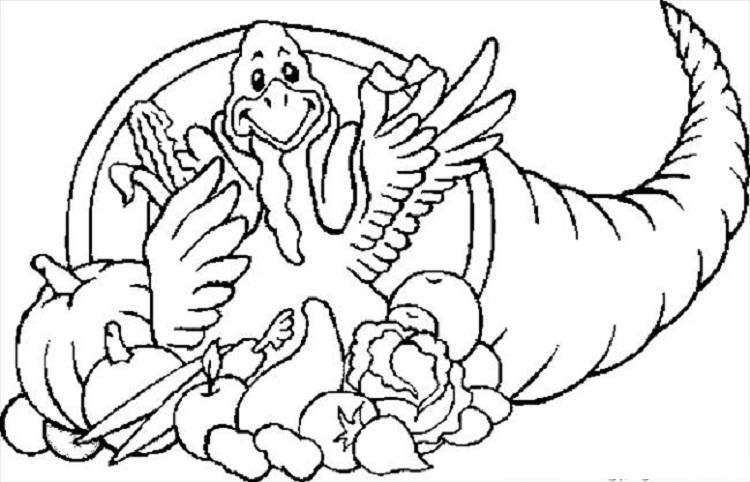 Turkey And Cornucopia Coloring Pages