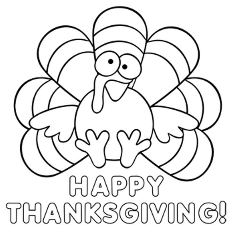 Turkey Happy Thanksgiving Coloring Pages Children