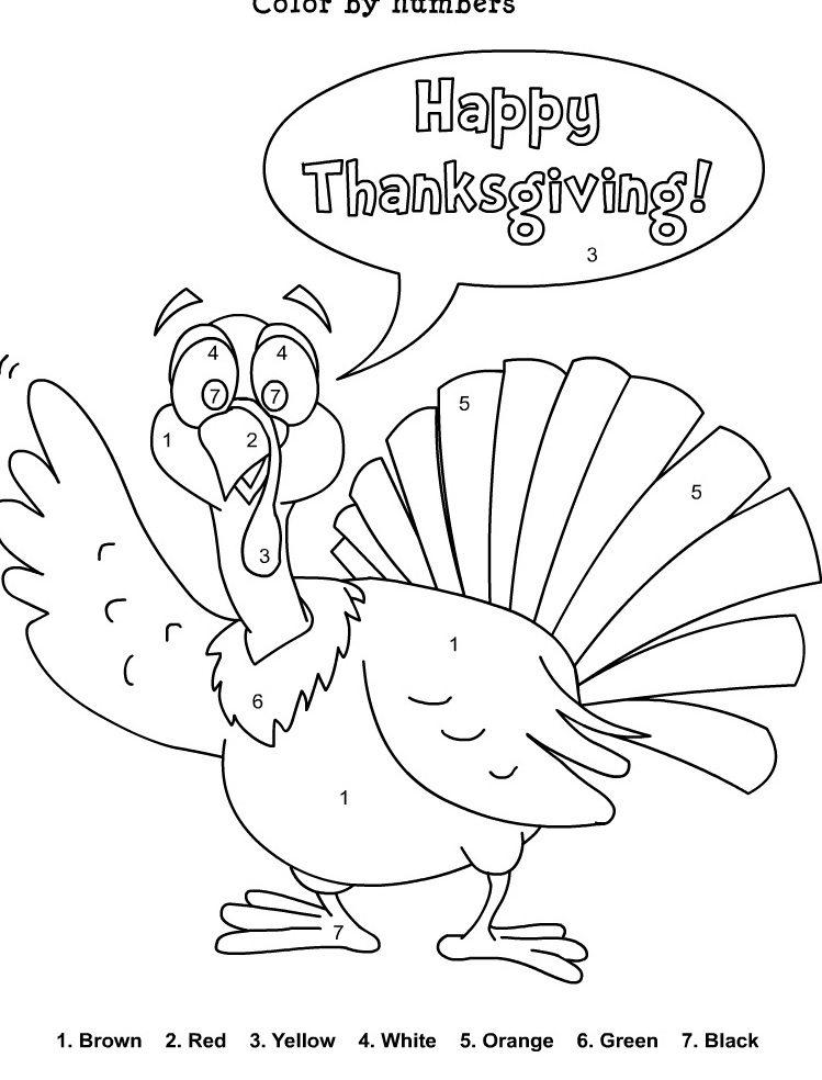 Turkey Thanksgiving Coloring Pages With Numbers