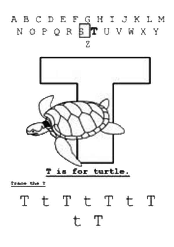 Turtle Is For Learn Letter T Coloring Page