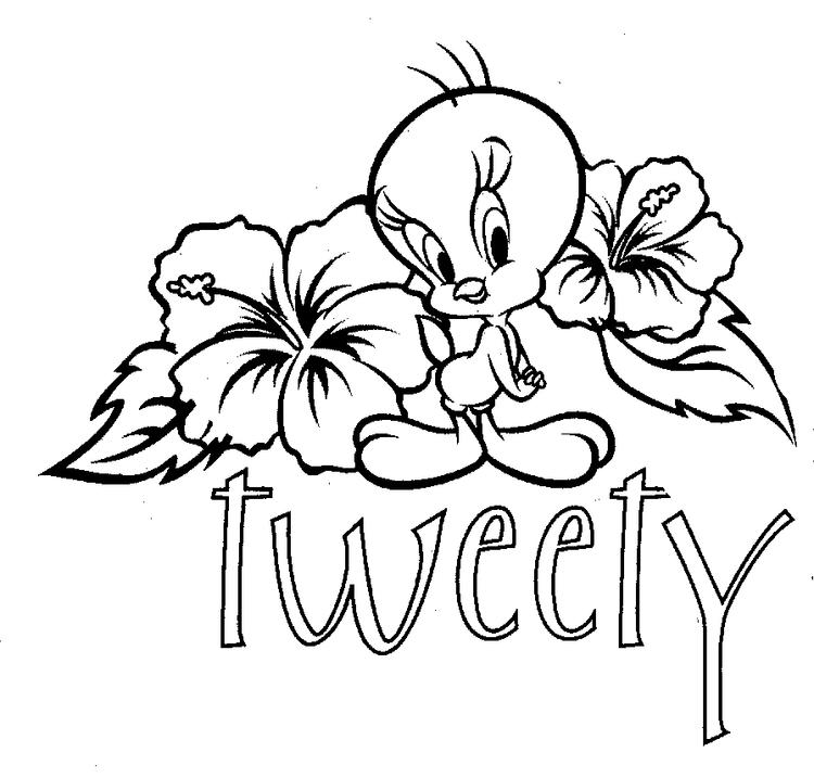 Tweety Bird Coloring Pages With Hibiscus Flower