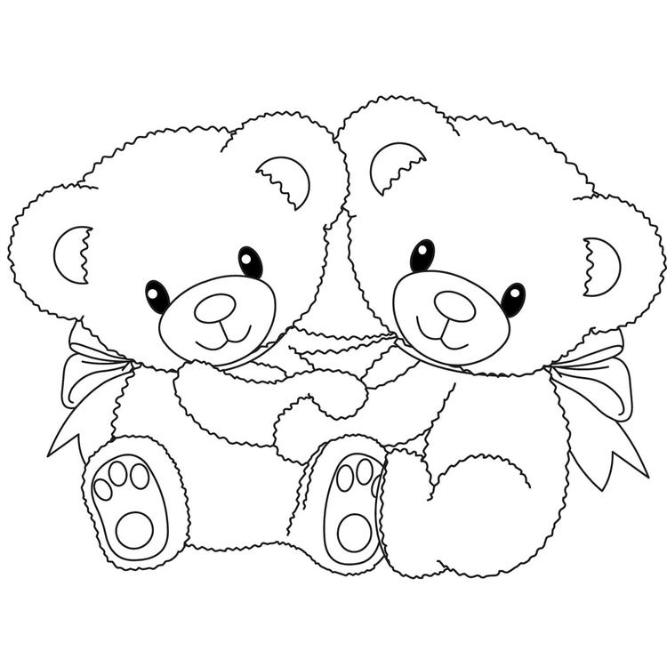 Twin Teddy Bear Coloring Pages