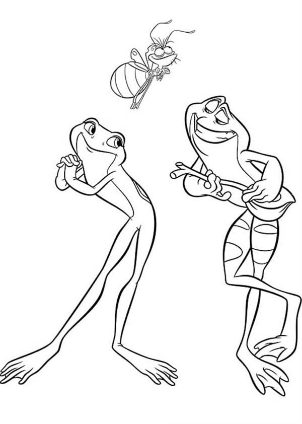 Two Frog Singing In Princess And The Frog Coloring Pages