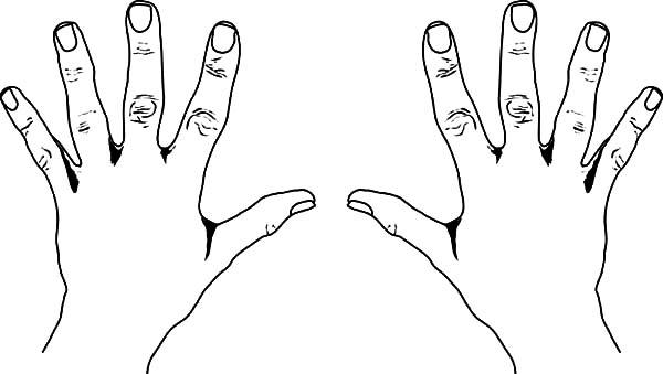 Two Hands Coloring Sheet Printable