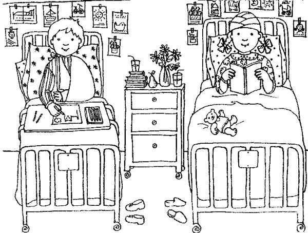 Two Kids Got Hospitalization At Hospital Coloring Pages