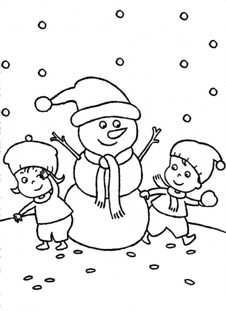 Two Kids Making Snowman Together Coloring Pages Winter