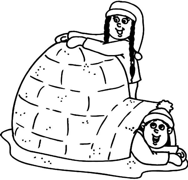 Two Kids Making Their Own Igloo Coloring Pages