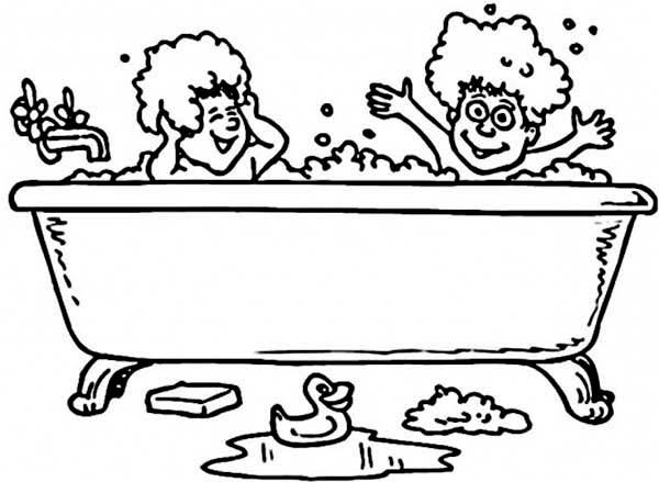 Two Kids Take A Bath With Rubber Duck Coloring Pages