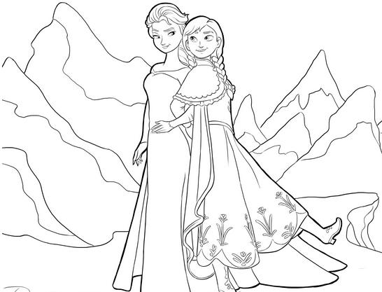 Two Princess Coloring Pages Frozen