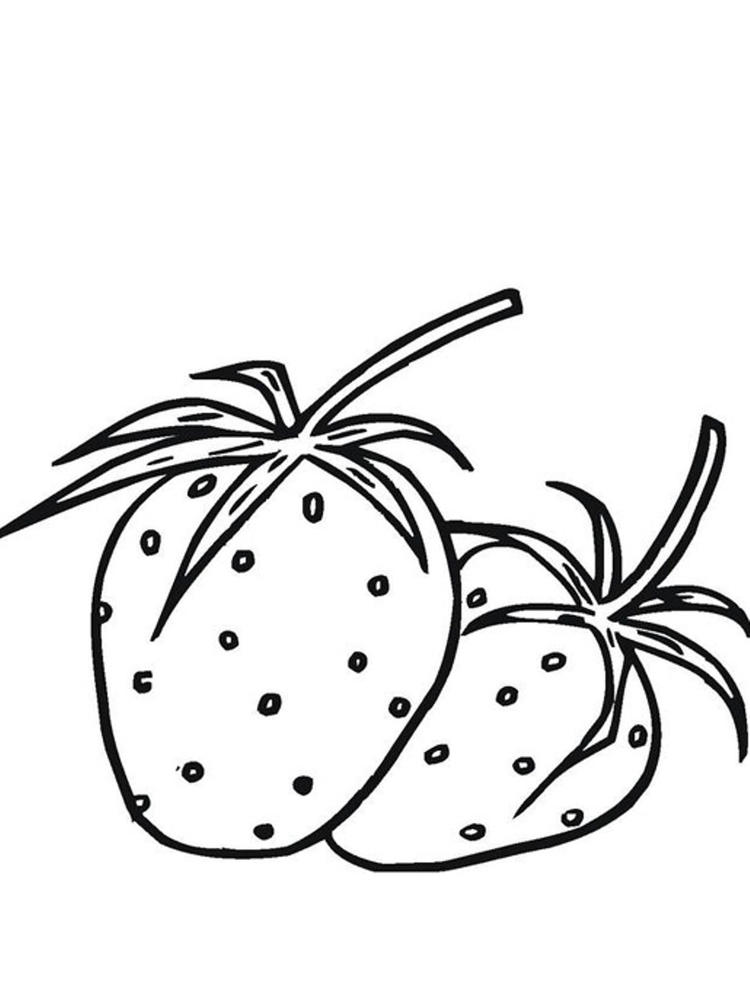 Two Strawberry Fruit Coloring Pages