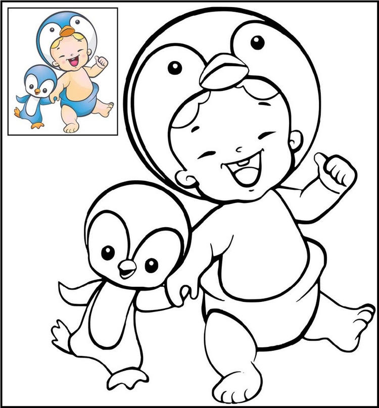 Twozies Penguin Coloring Page