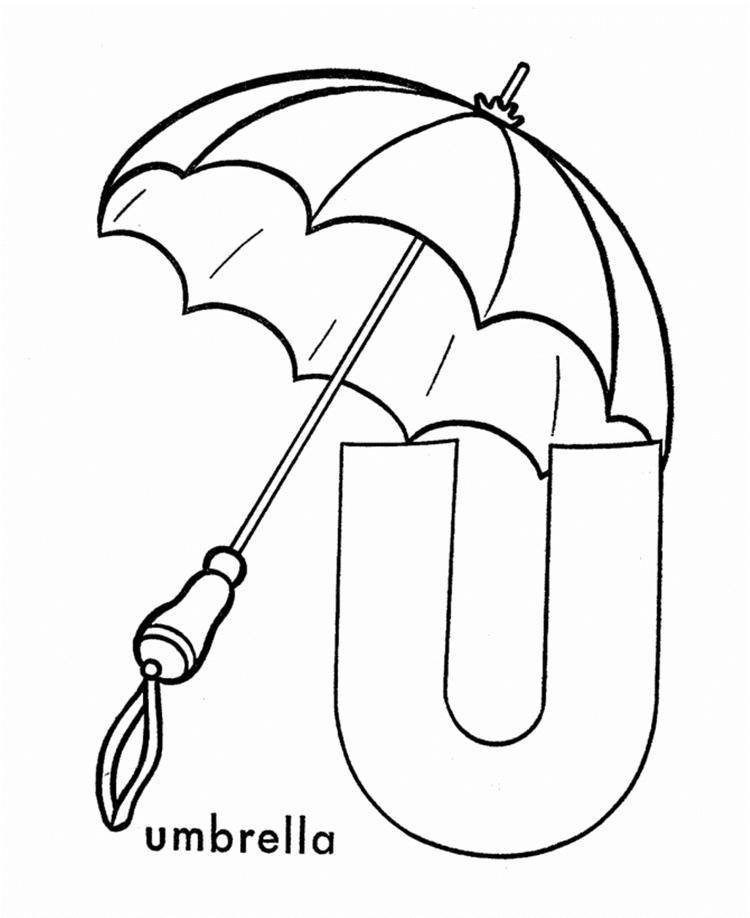 U For Umbrella Alphabet Coloring Pages Free