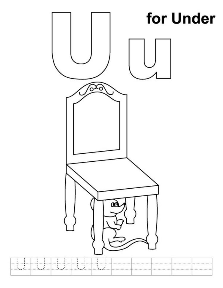 U For Under Alphabet Coloring Pages Free