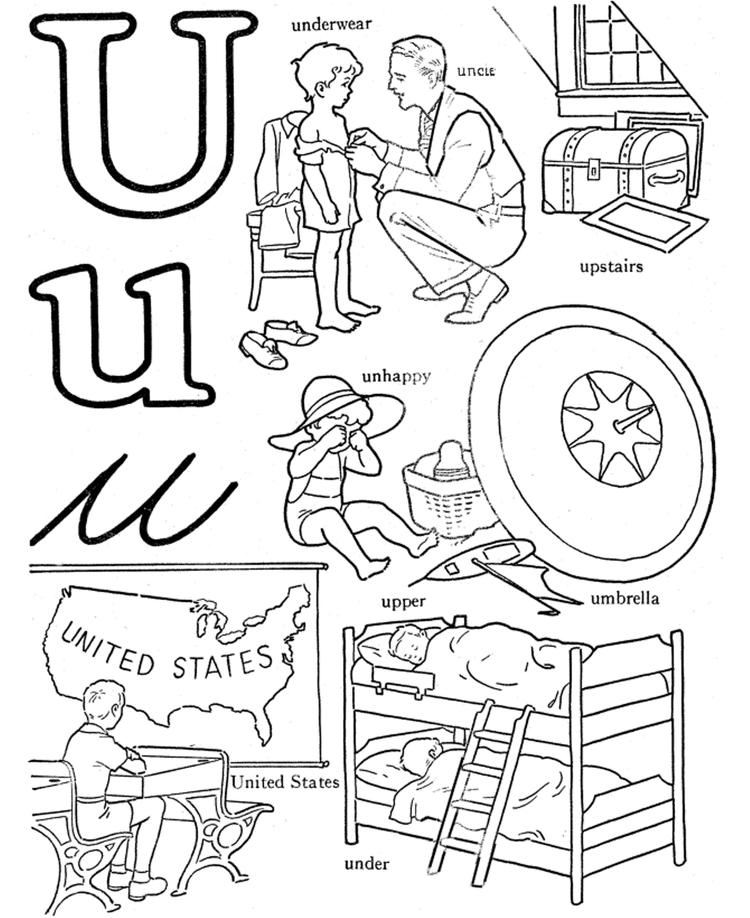 U Words Alphabet Coloring Pages Free