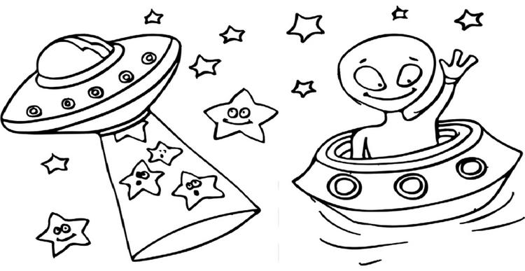 Ufos Outer Space Coloring Page