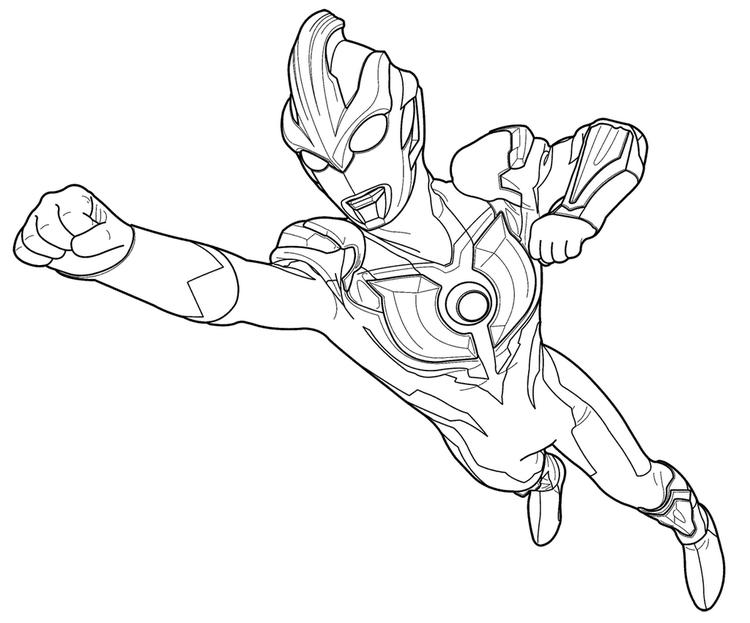Ultraman Ginga Flying Coloring Page For Kids