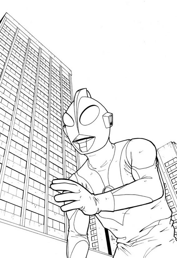 Ultraman Tiga With Building Scenery Coloring Page Coloring Ideas