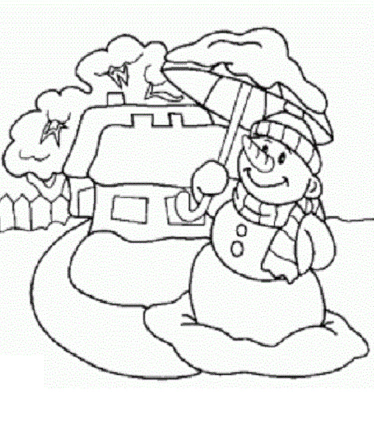 Umbrella And Snowman Coloring Pages To Print