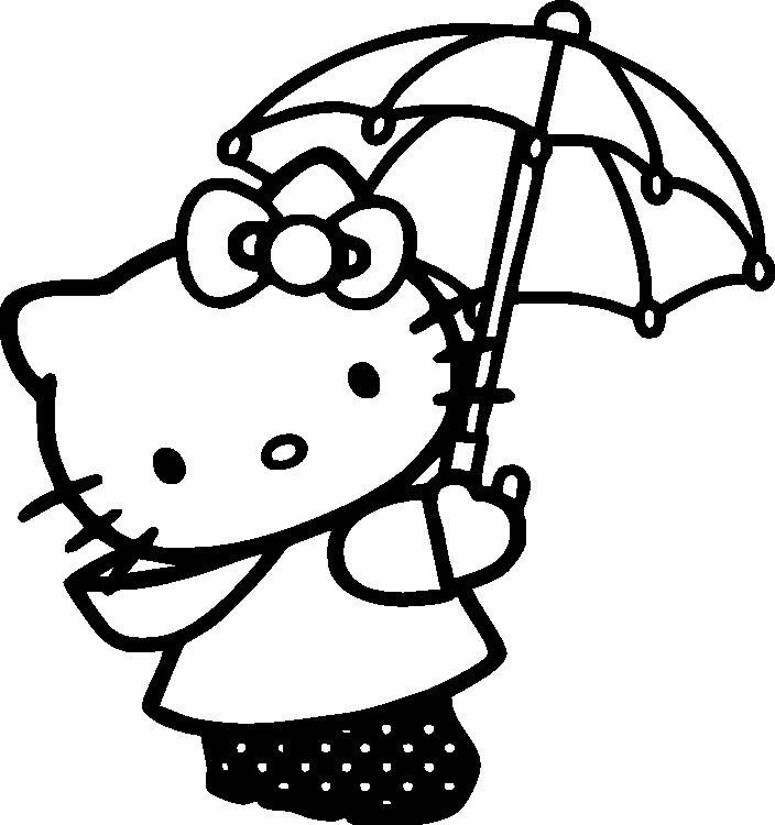 Umbrella coloring pages hello kitty