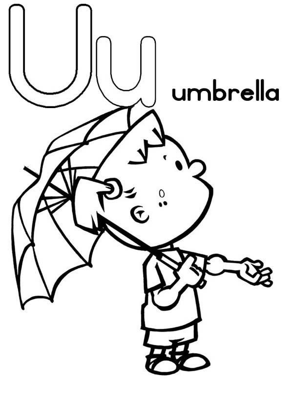 Umbrella For Learning Letter U Coloring Page