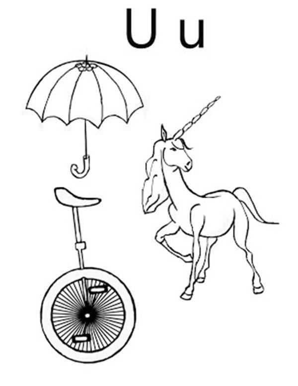 Umbrella Unicycle And Unicorn For Letter U Coloring Page