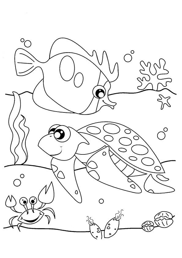 Under The Sea Coloring Pages Turtle Fish Crab