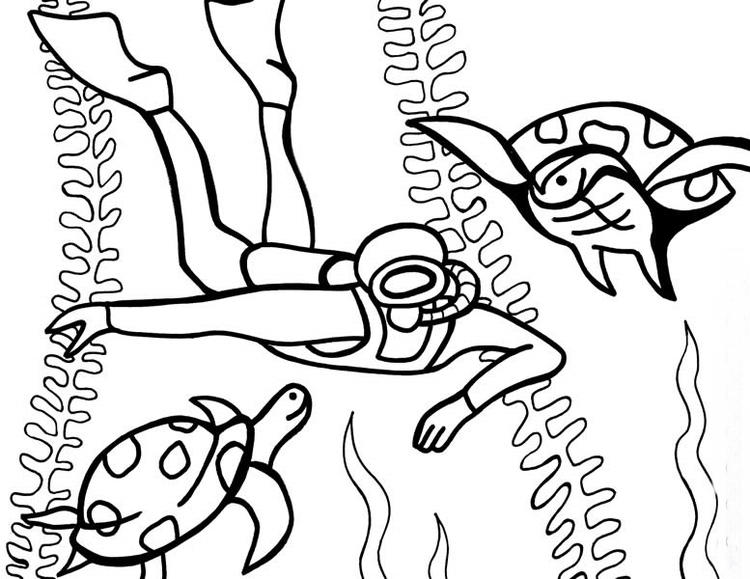 Under The Sea Diving Coloring Pages