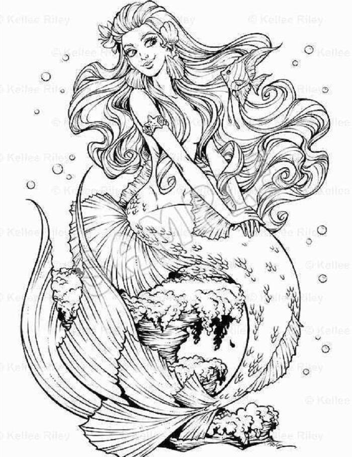 Under The Sea Mermaid Coloring Pages