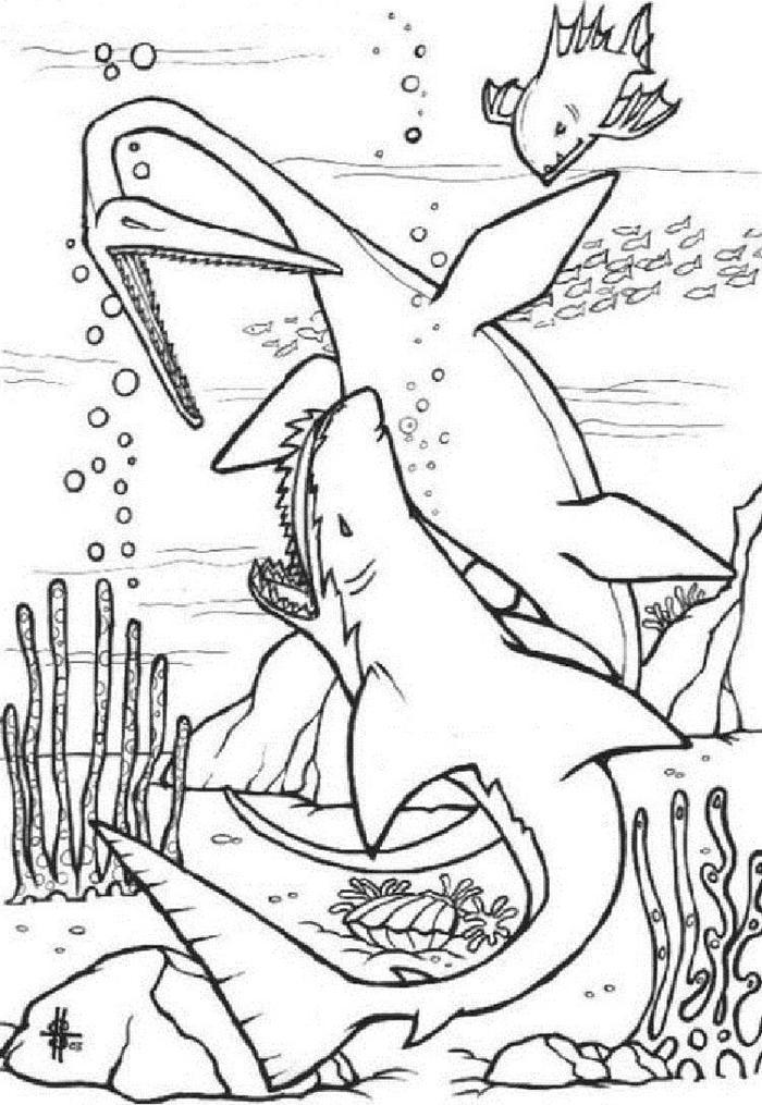 Underwater Dinosaur Coloring Pages