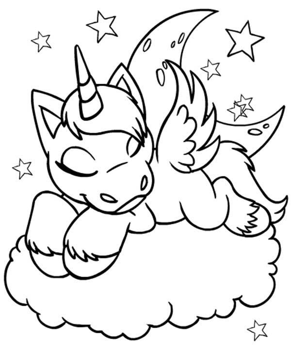 Uni From Neopets Is Sleeping On A Cloud Coloring Pages