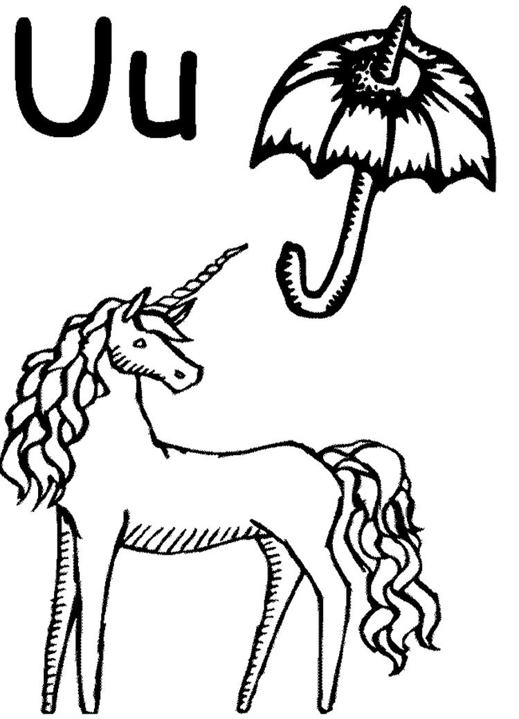 Unicorn And Umbrella Alphabet Coloring Pages Free