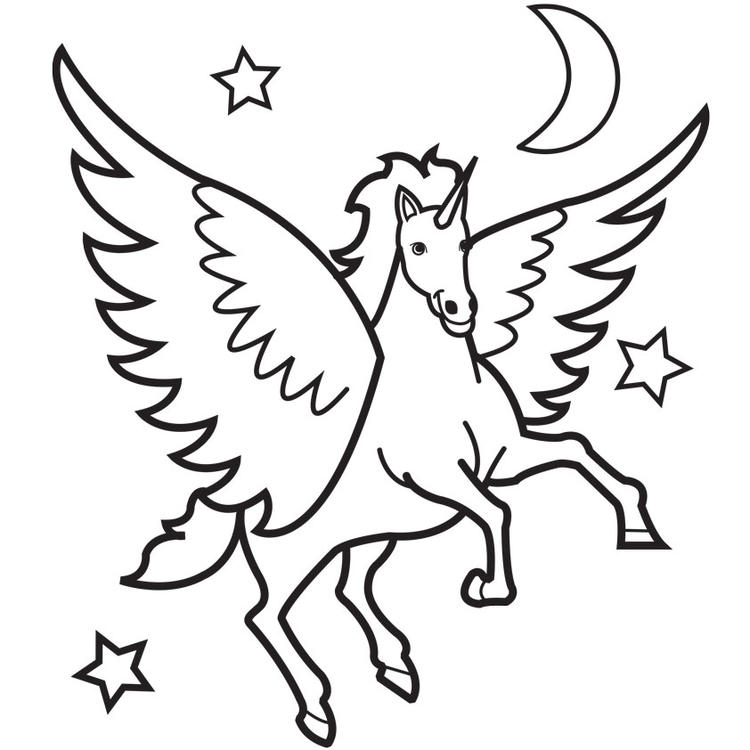 Unicorn Coloring Pages With Moon And Stars