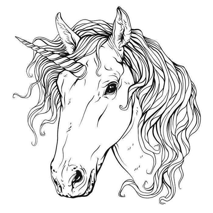 Unicorn Head Free Coloring Pages
