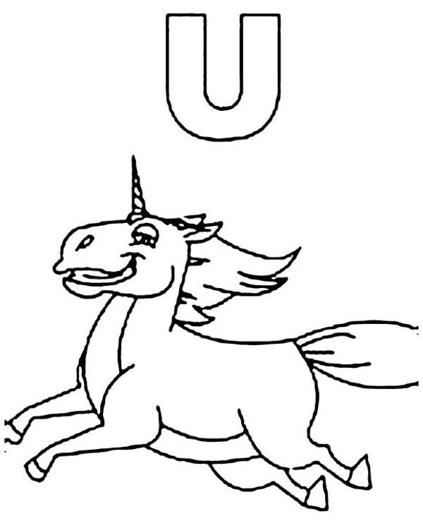 Unicorn Is For Learn Letter U Coloring Page