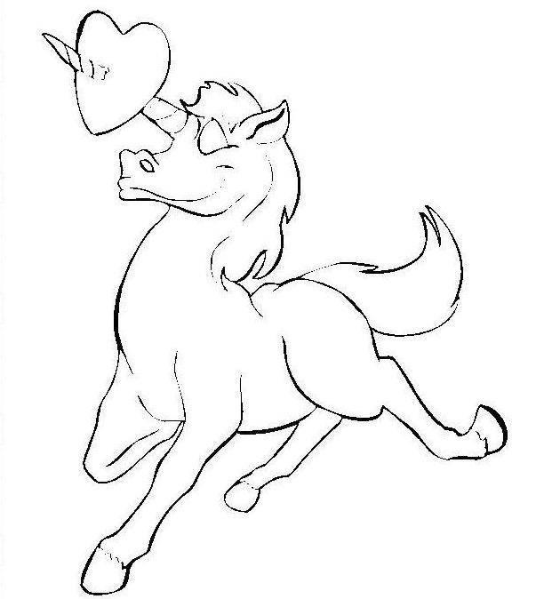 Unicorn Valentine Coloring Pages