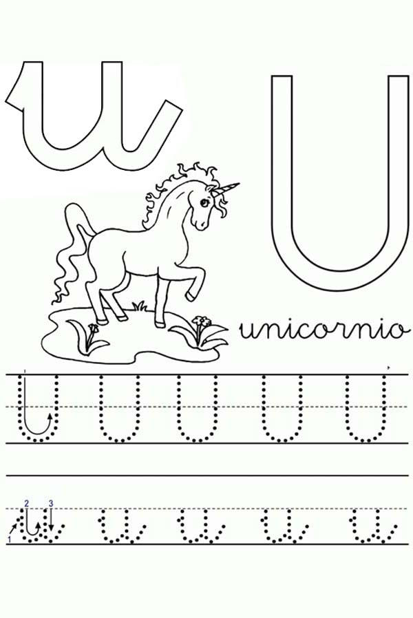 Unicorn Worksheet In Learning Letter U Coloring Page